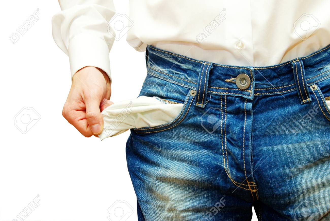 Businessman with empty pockets on white - 32545600
