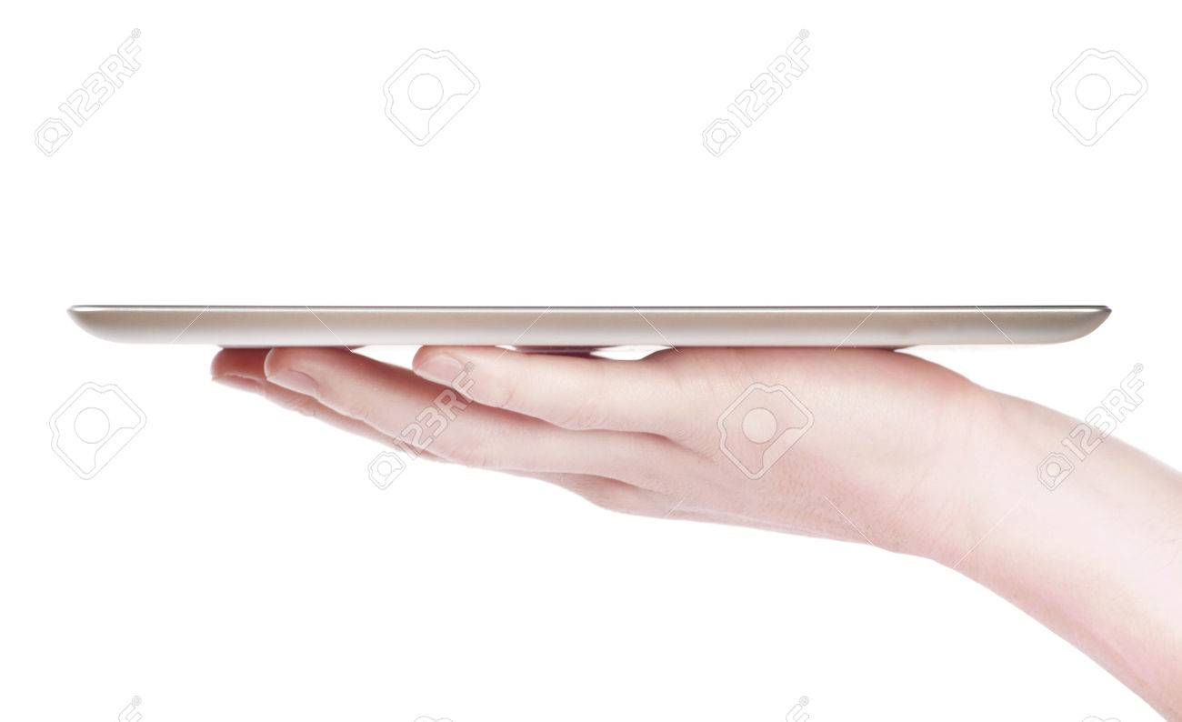 female hands holding a tablet touch computer gadget with isolated screen - 50122985
