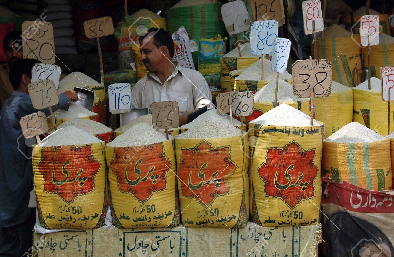 KARACHI/PAKISTAN_ Food shop mark with food prices in Karachi  Saddar ood bazar per kilos 15 Sept. 2012          Stock Photo - 15240467