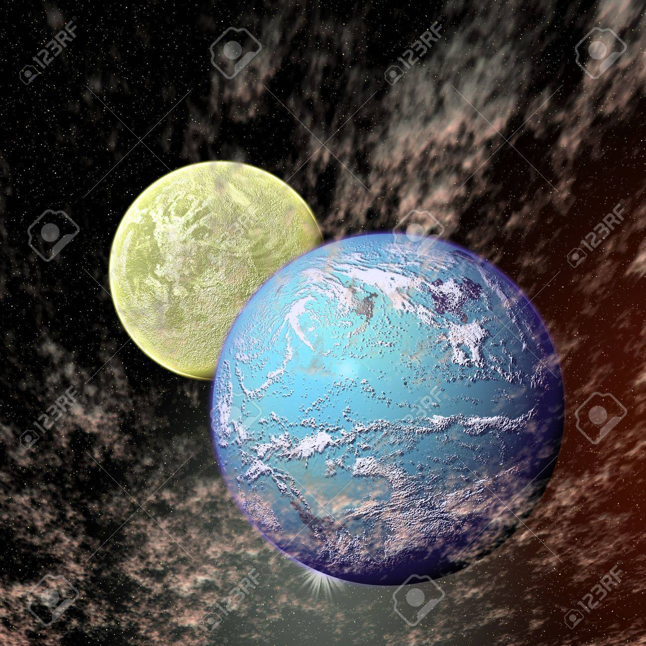 View of the universe with planets Stock Photo - 3597163