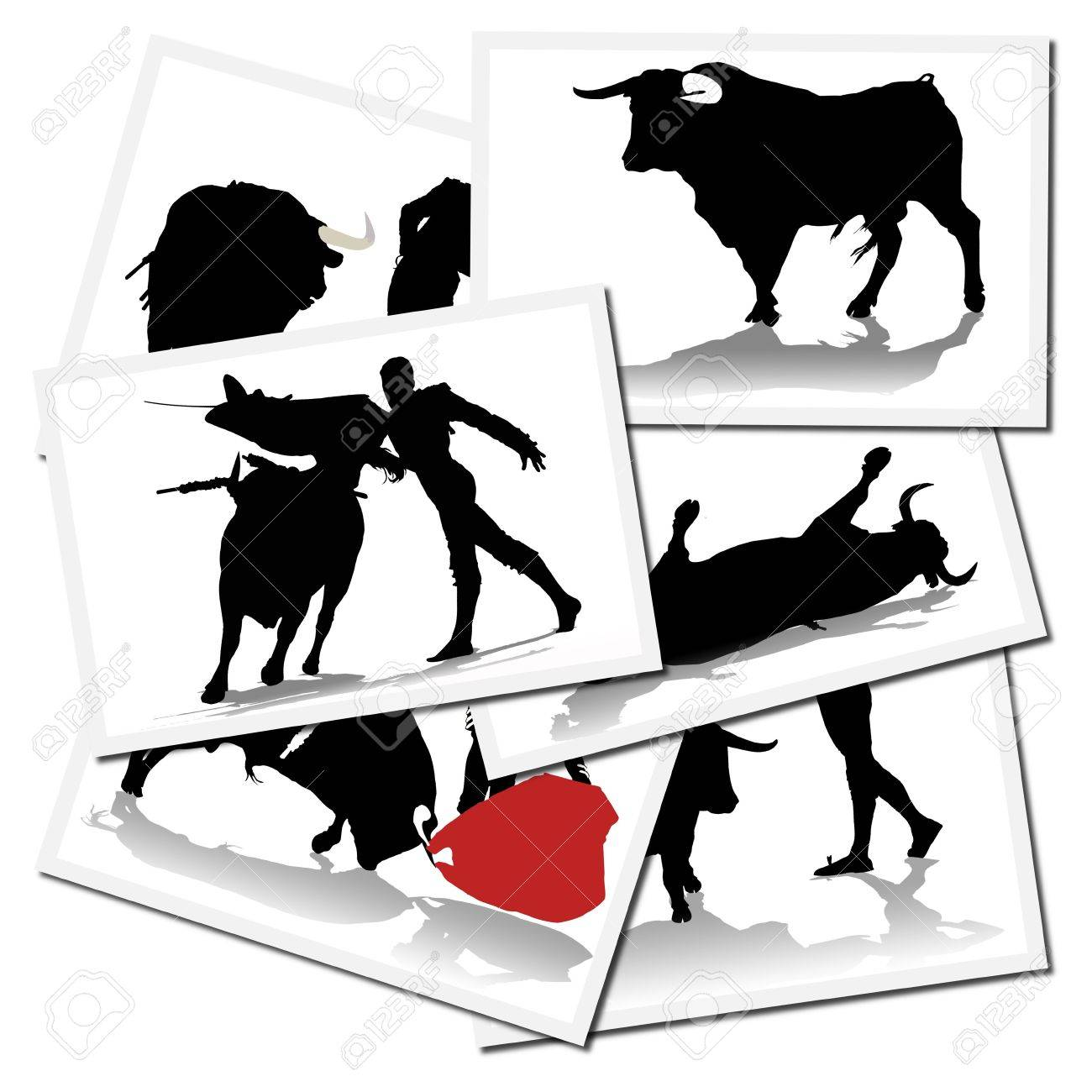 Collection of illustrations with a bullfighter in action, spain Stock Photo - 6071086