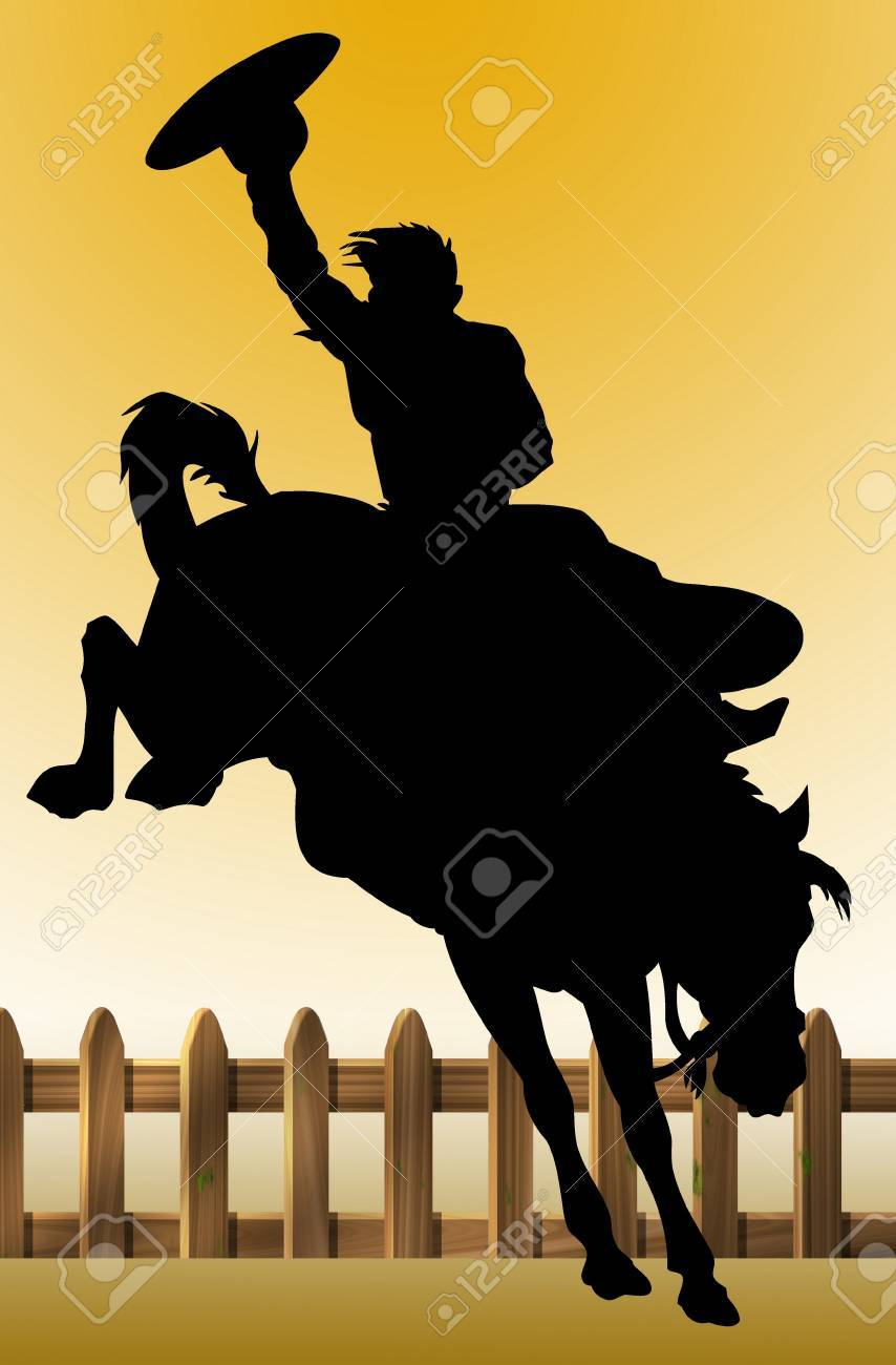 Illustration of a cowboy riding his horse Stock Photo - 9083532