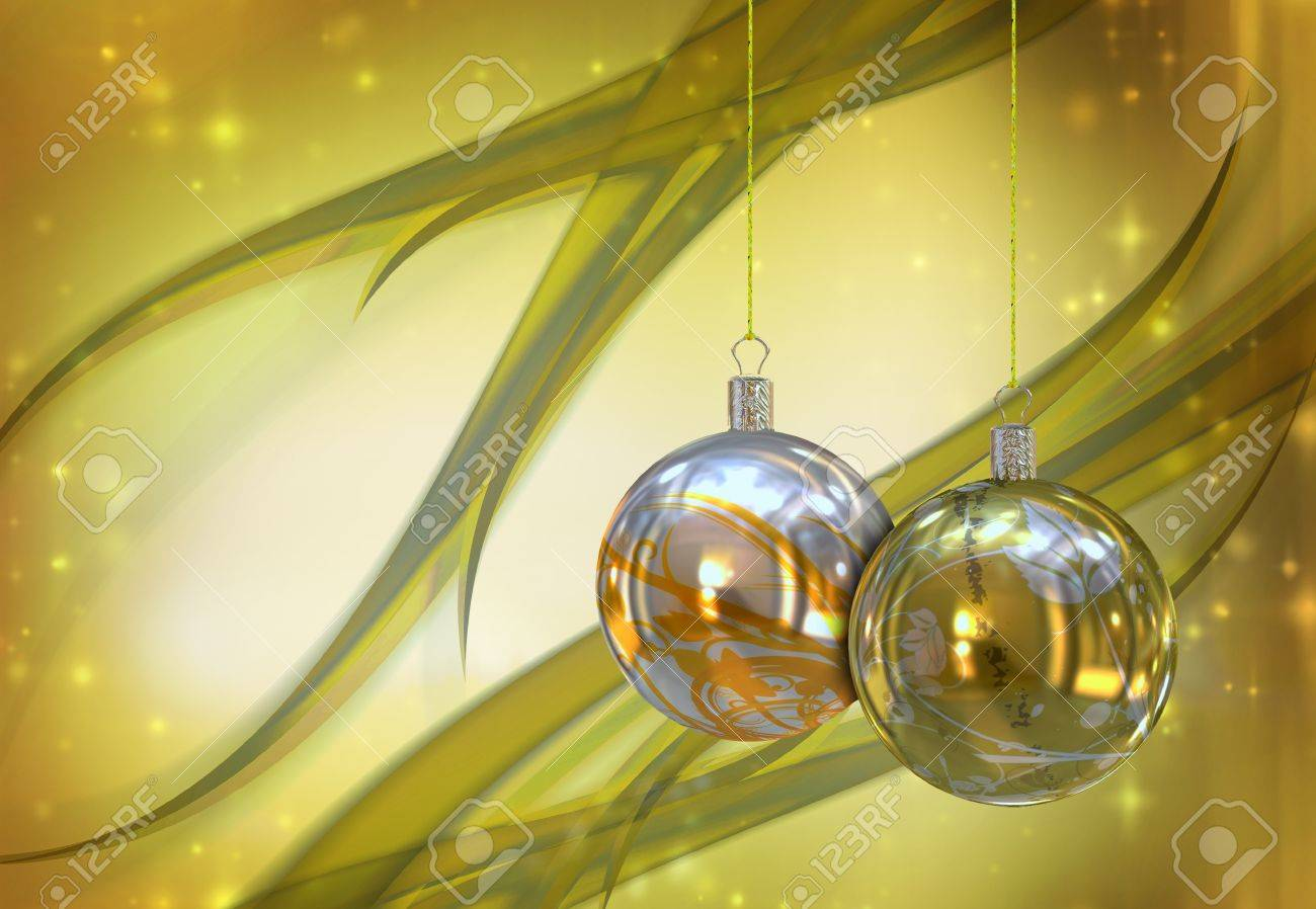 Christmas balls card illustration Stock Illustration - 15614125