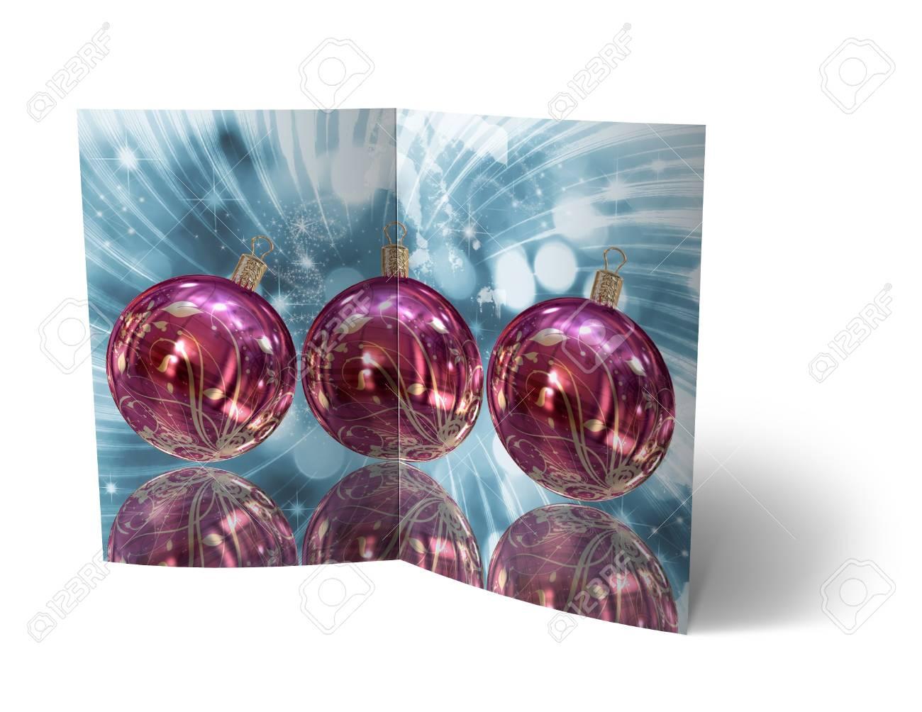 isolated 3d Christmas Balls brochure, Card Illustration Stock Illustration - 16023405