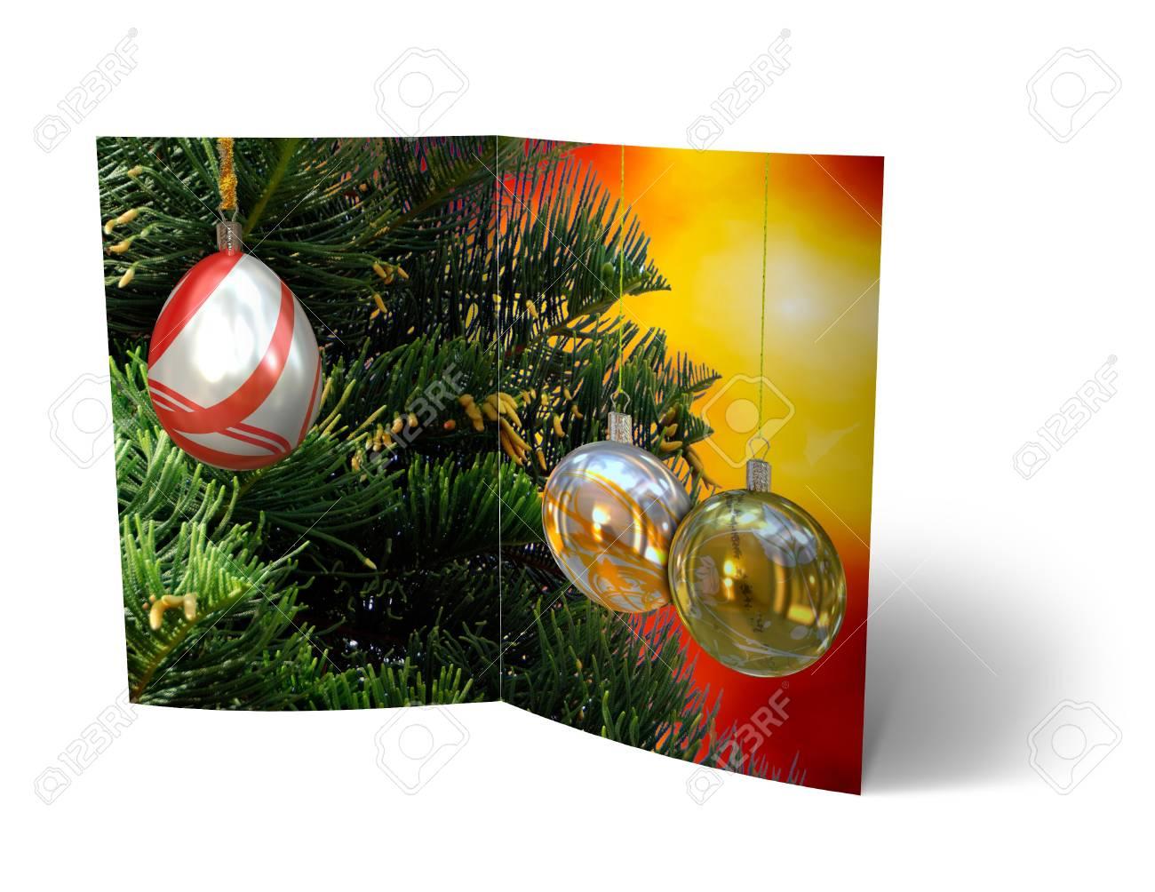 isolated 3d Christmas Balls brochure, Card Illustration Stock Photo - 16023406