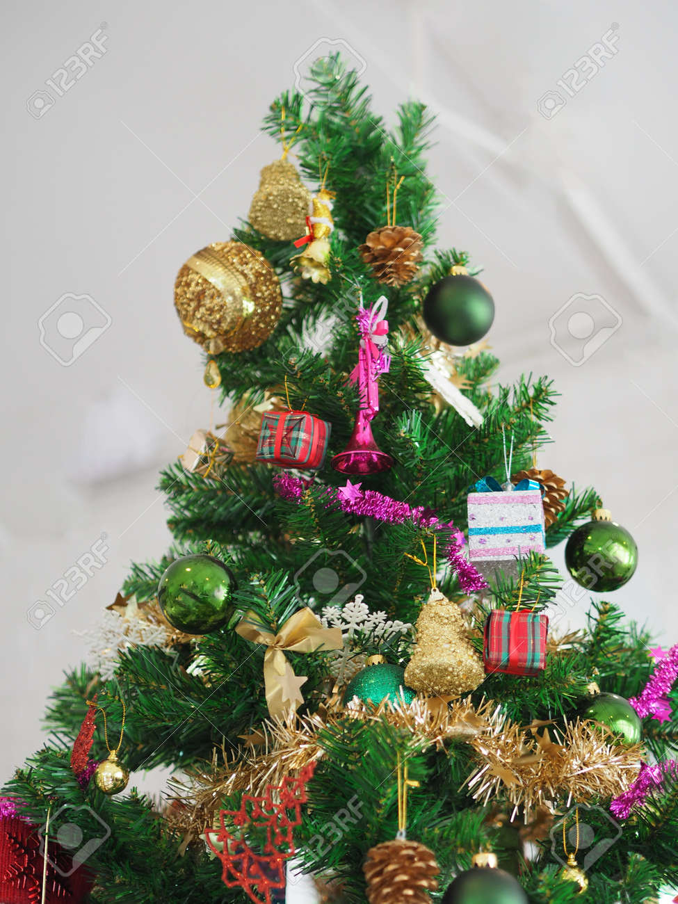 Christmas Decorations Green Tree Hanging Gold Gift Box Green Stock Photo Picture And Royalty Free Image Image 160983589
