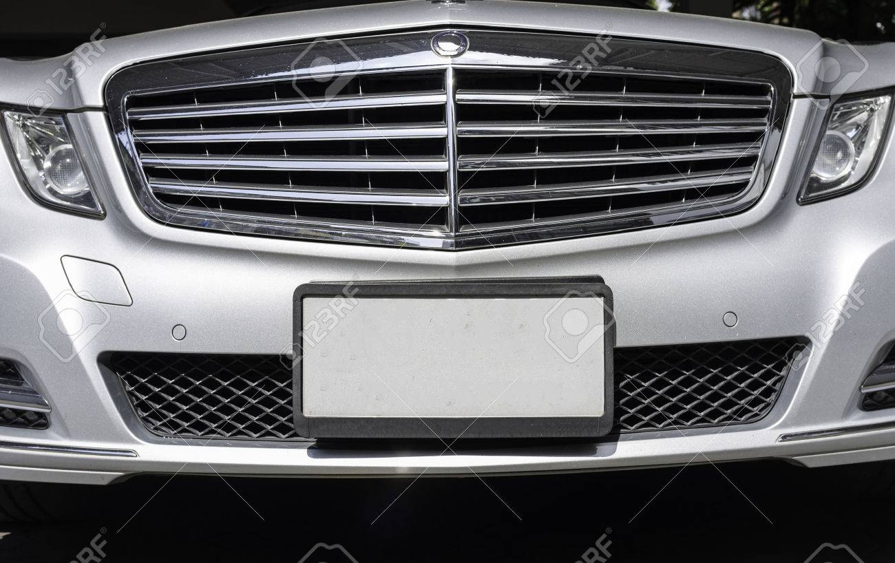 Front View Of Luxury With Empty License Plate Stock Photo Picture
