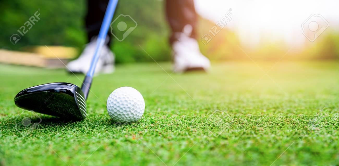 Close up golf ball on green grass field. sport golf club - 126568560