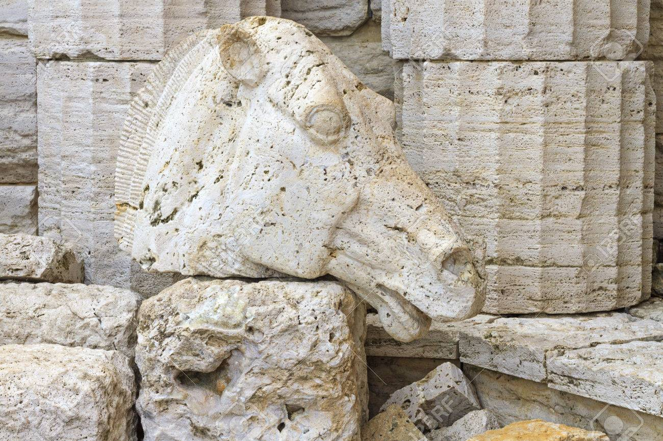 Horse S Head Made Of Granite And Ancient Greek Columns Trojan Stock Photo Picture And Royalty Free Image Image 67026414