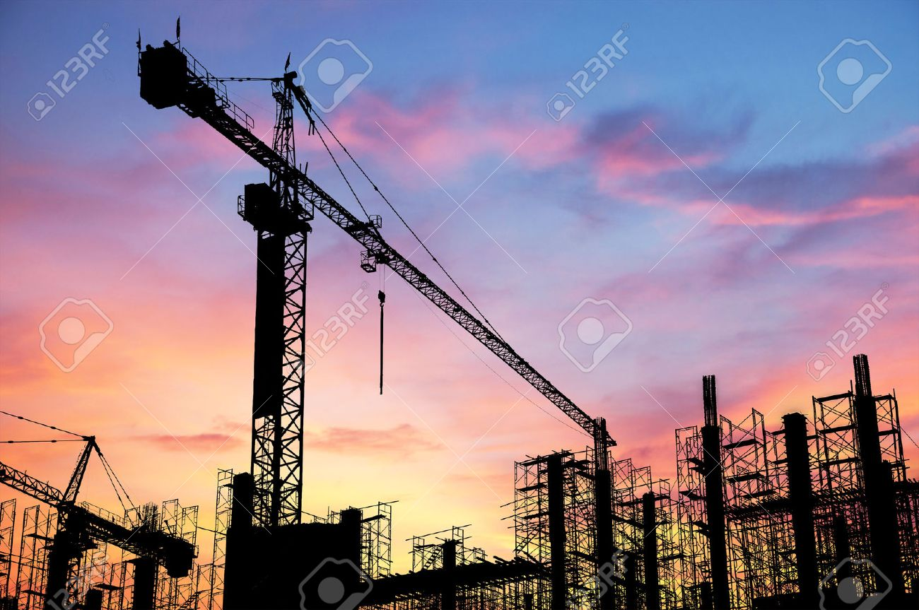 Construction site on sunset background Stock Photo - 26174032