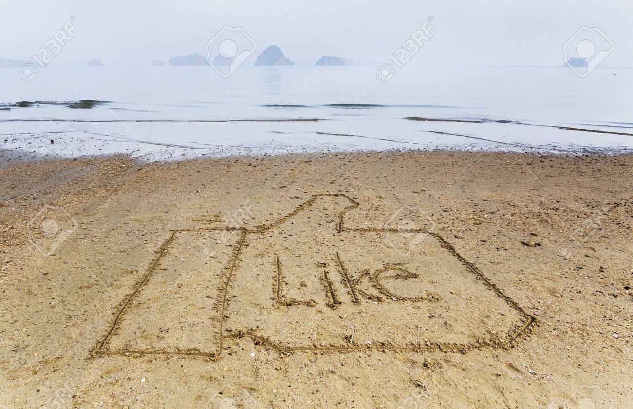 word Like written in the sand on the beach Stock Photo - 28481846