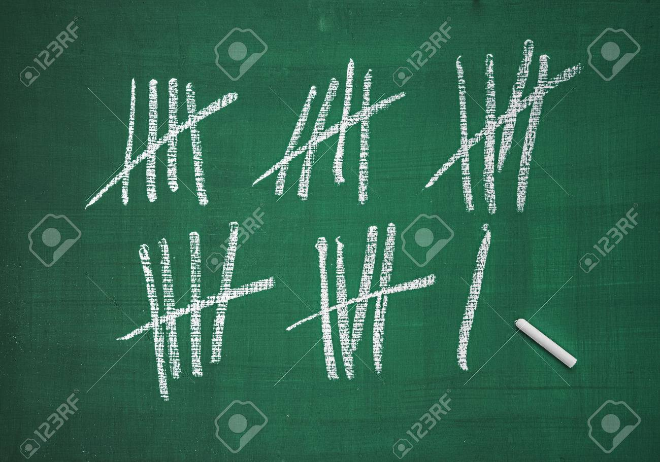 Counting list on a blackboard Stock Photo - 28992540