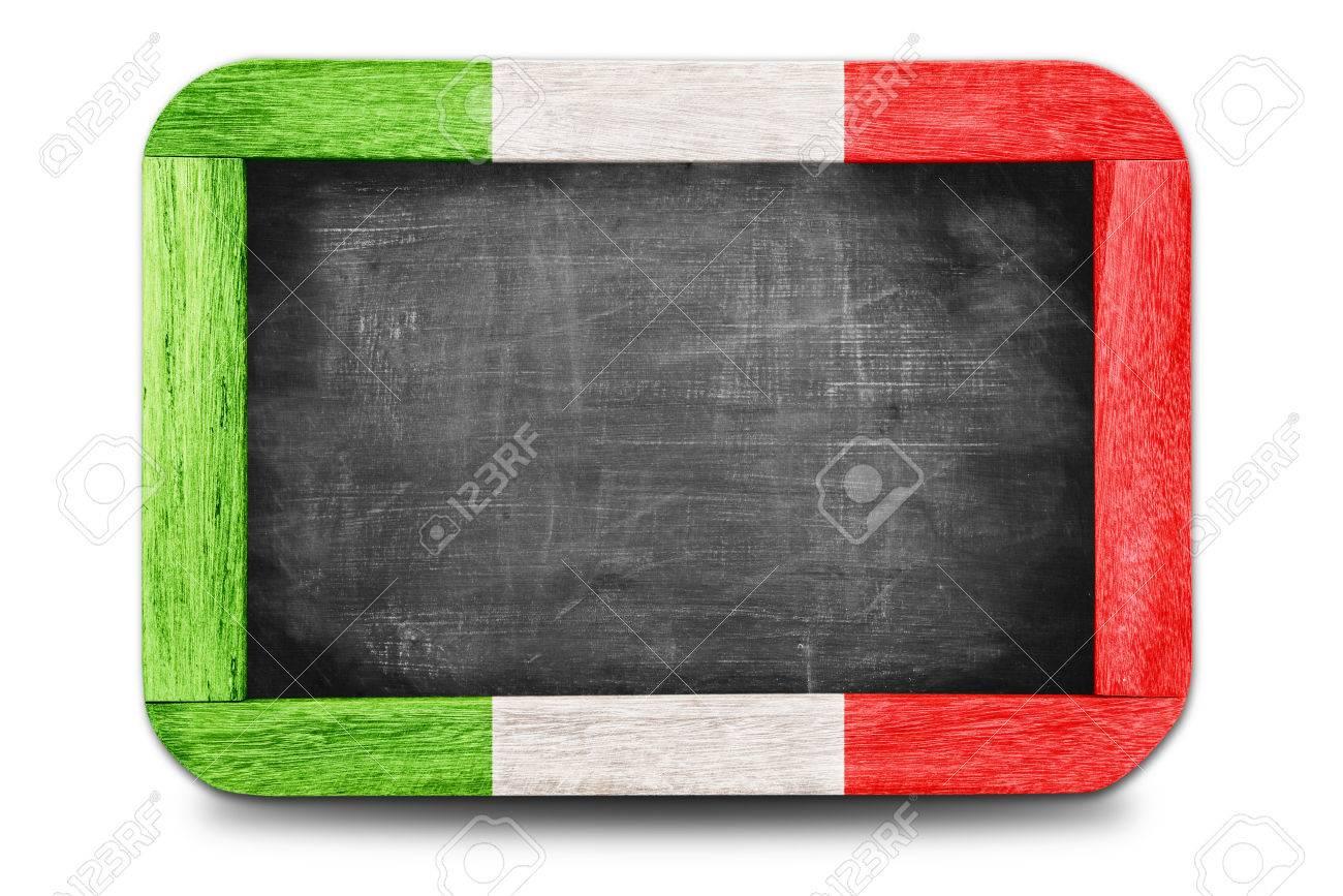 Italy flag soccer 2014 framed of Small chalkboard Stock Photo - 29642473