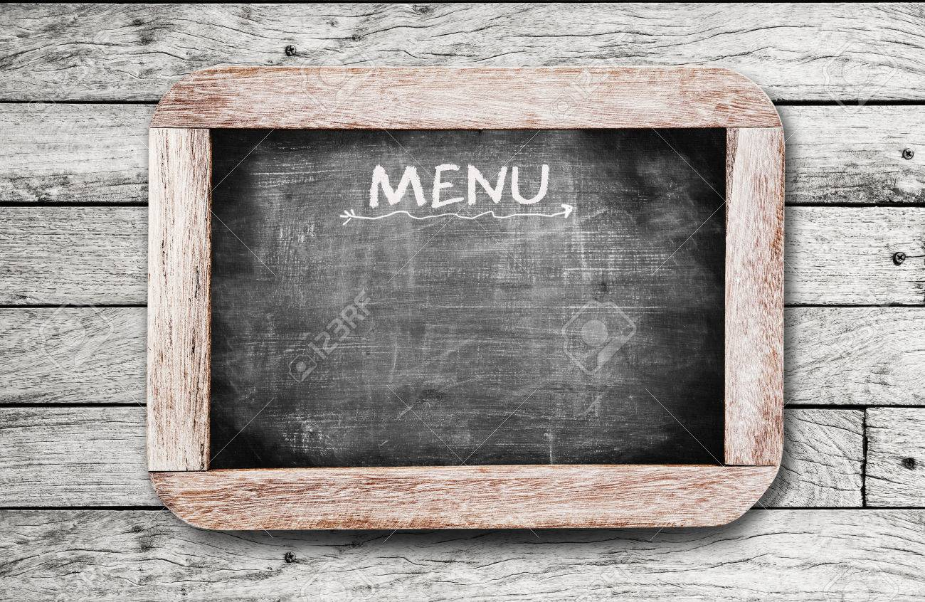 Chalkboard with  MENU  handwriting including clipping path Stock Photo - 30167060