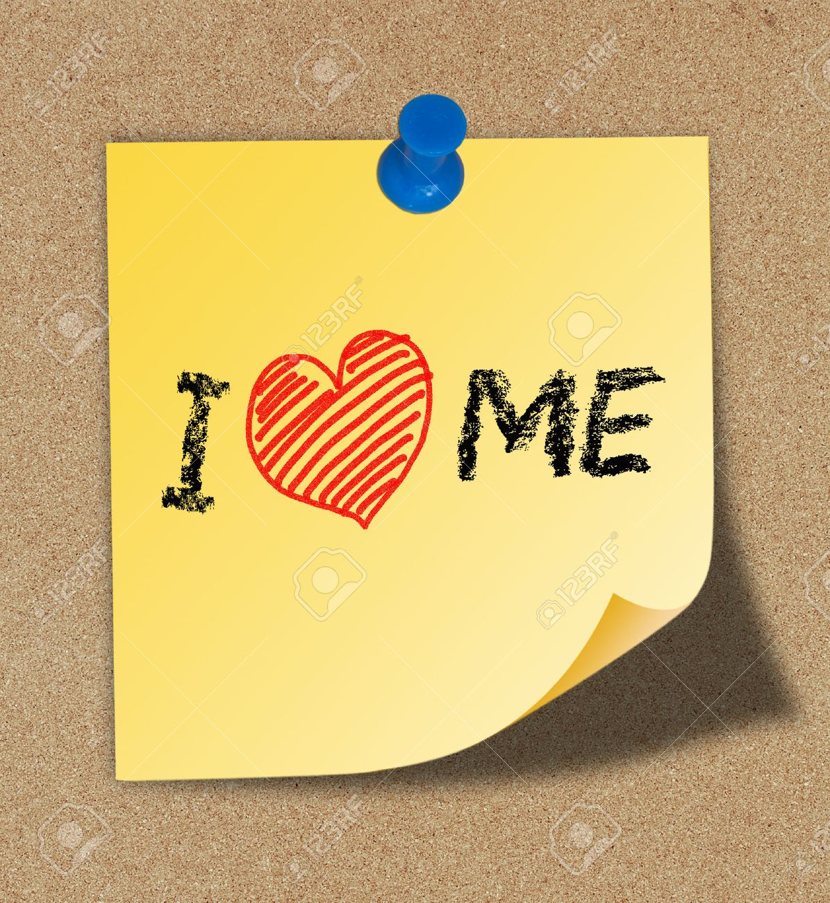 I Love Me writing on yellow note pinned on cork board background Stock Photo - 30179749