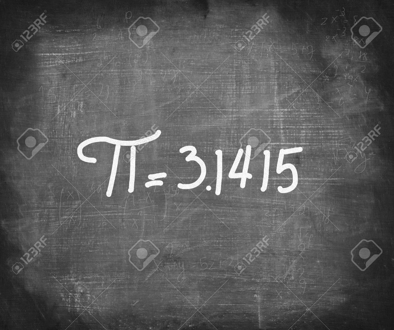 Pi number handwritten with white chalk on blackboard,mathematics concept . Stock Photo - 31272750