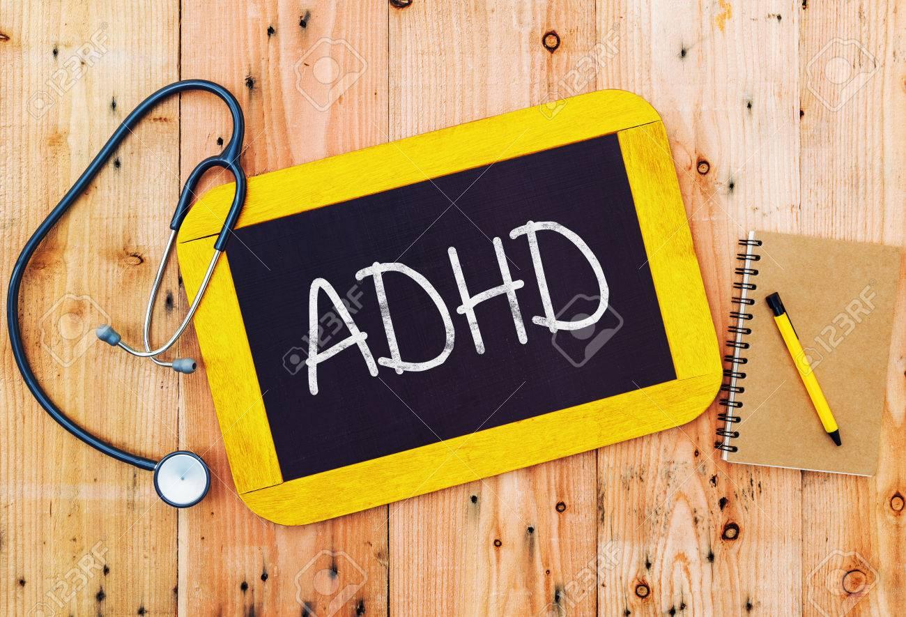 ADHD handwritten on blackboard , medecine concept. Stock Photo - 32463583