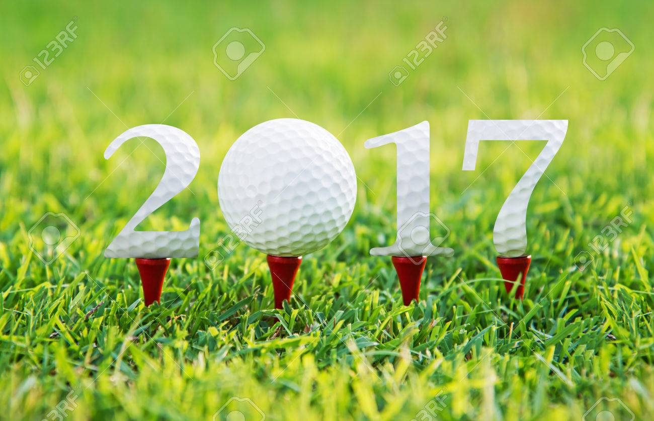 Happy new year 2017, Golf sport conceptual image ,the same concept available for 2015,and 2016 year. Stock Photo - 32463747
