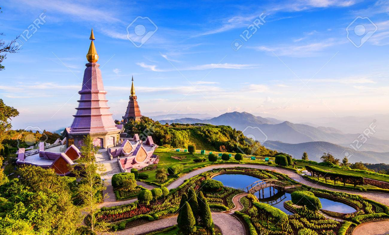 Landscape of two pagoda on the top of Inthanon mountain, Chiang Mai, Thailand. Stock Photo - 33335640