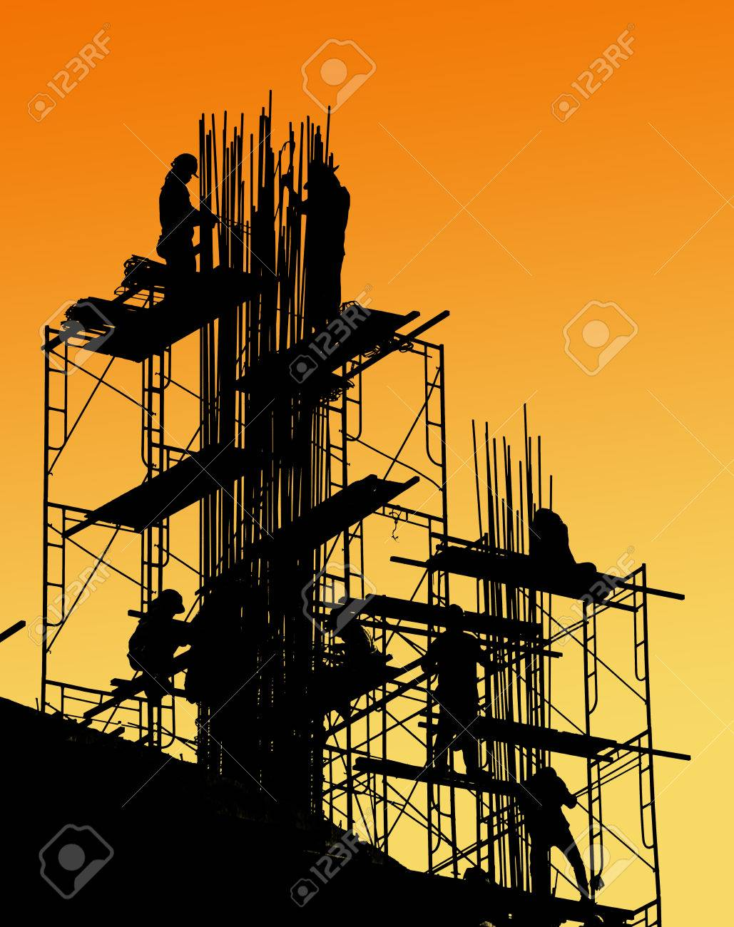 silhouette of construction worker on scaffold Stock Photo - 34039859