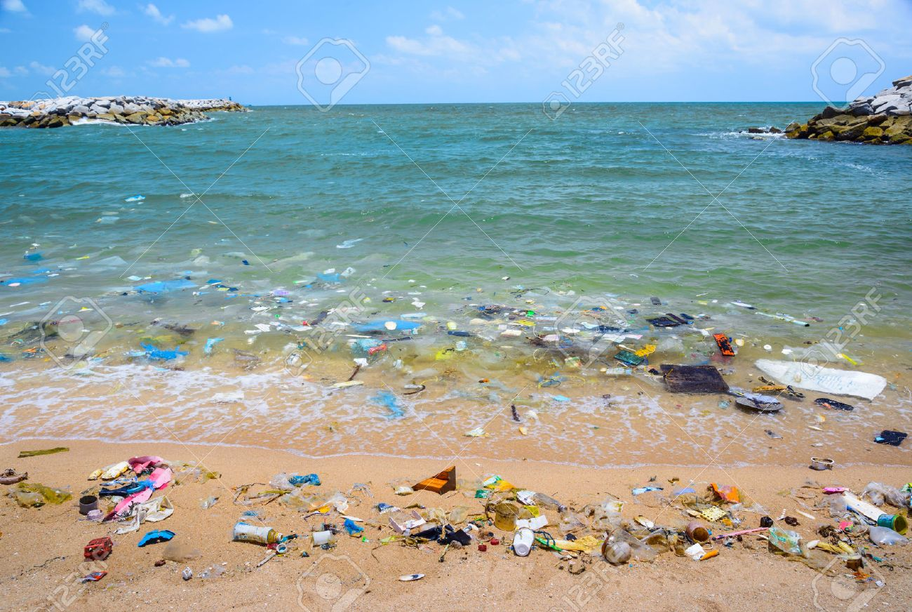 Pollution on the beach of tropical sea. Stock Photo - 39062667