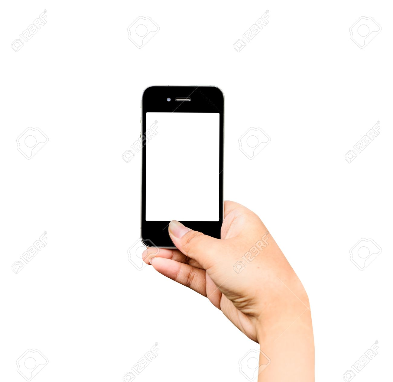Taking photo with mobile phone on white background, Hand holding mobile smart phone with blank screen. Stock Photo - 41508414