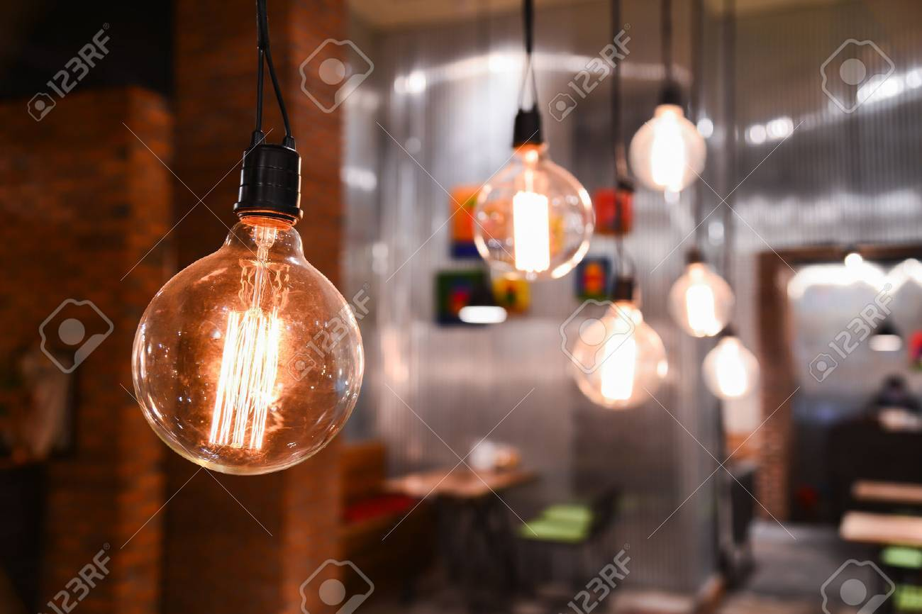 Beautiful lamps on ceiling in restaurant. Stock Photo - 48158339