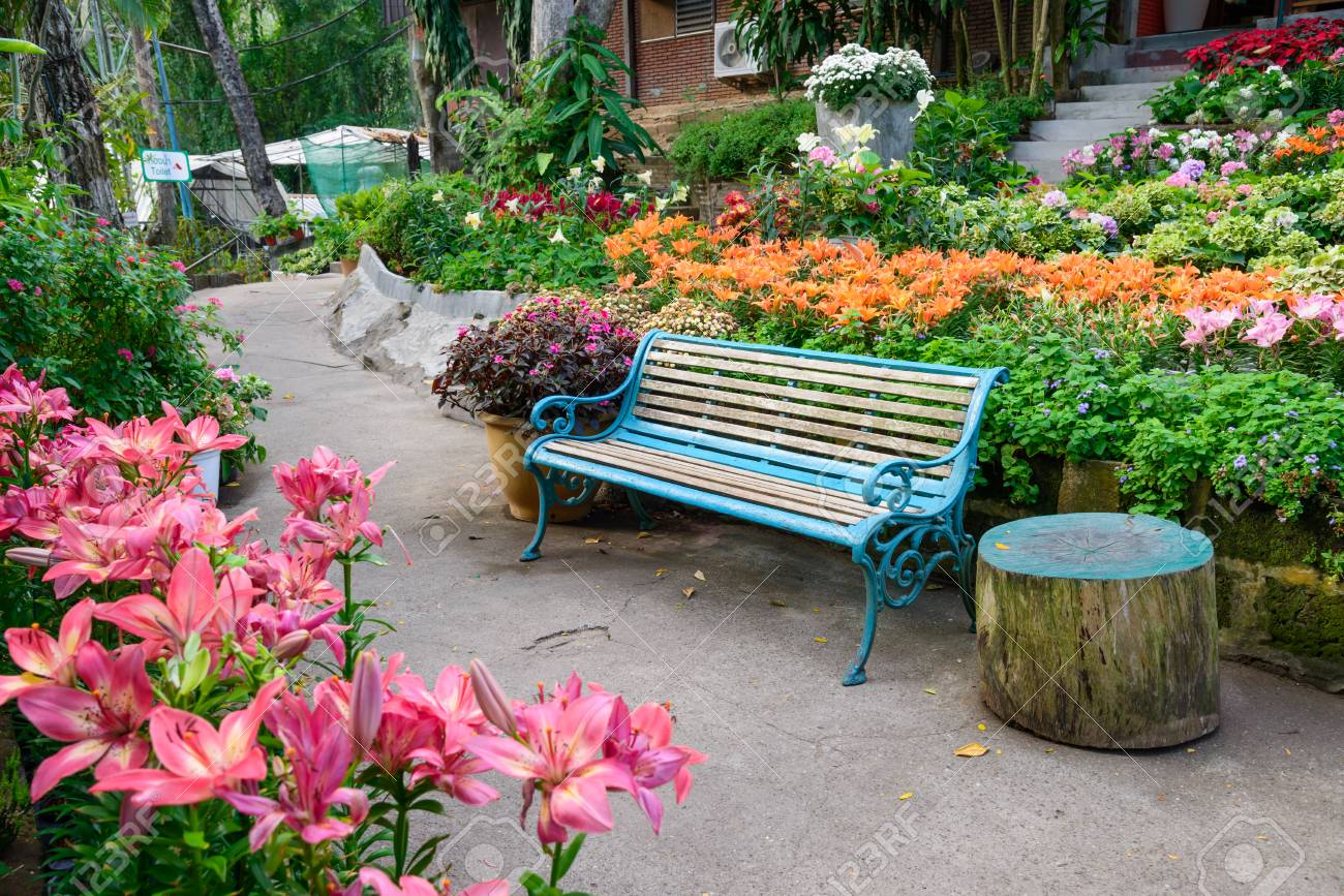 Empty Park Bench In A Beautiful Flower Garden Stock Photo Picture