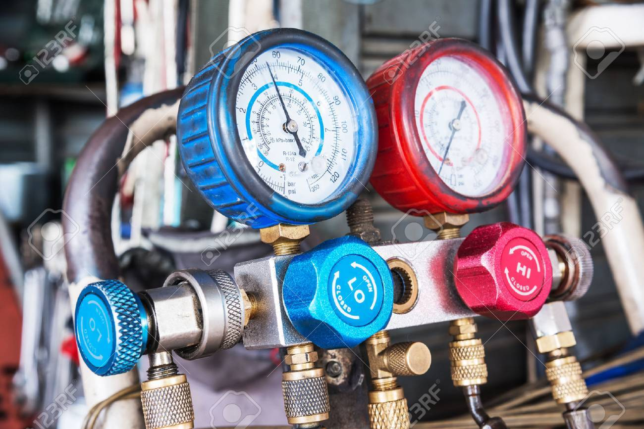 Refrigerator pressure gauges, manometers,quipment Measure of Air Conditioner Stock Photo - 50237777