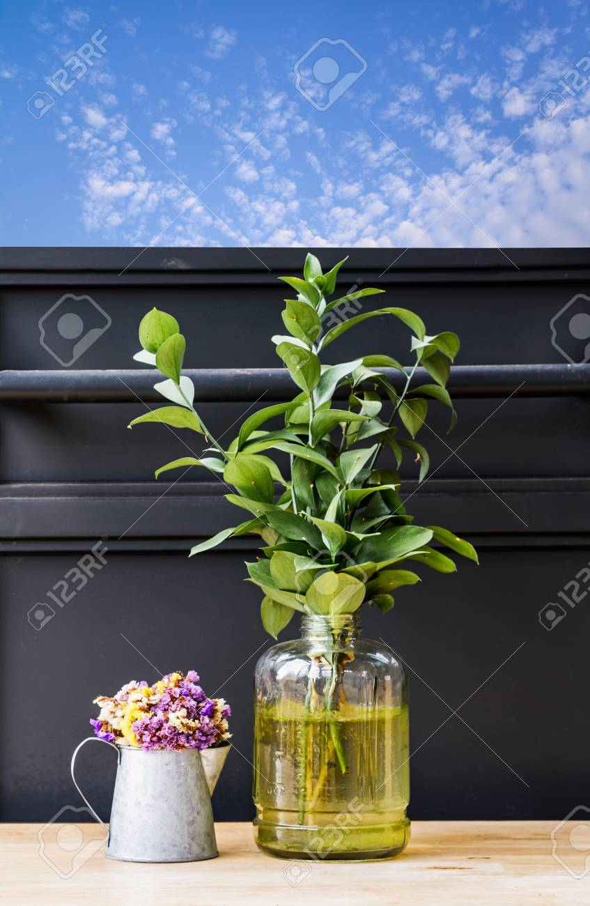 Dried Flowers In A Zinc Bucket And Plants Vase Decorations Of ... on zinc metal, zinc desk, zinc patina, zinc car, zinc basket, zinc chest, zinc dog, zinc table,