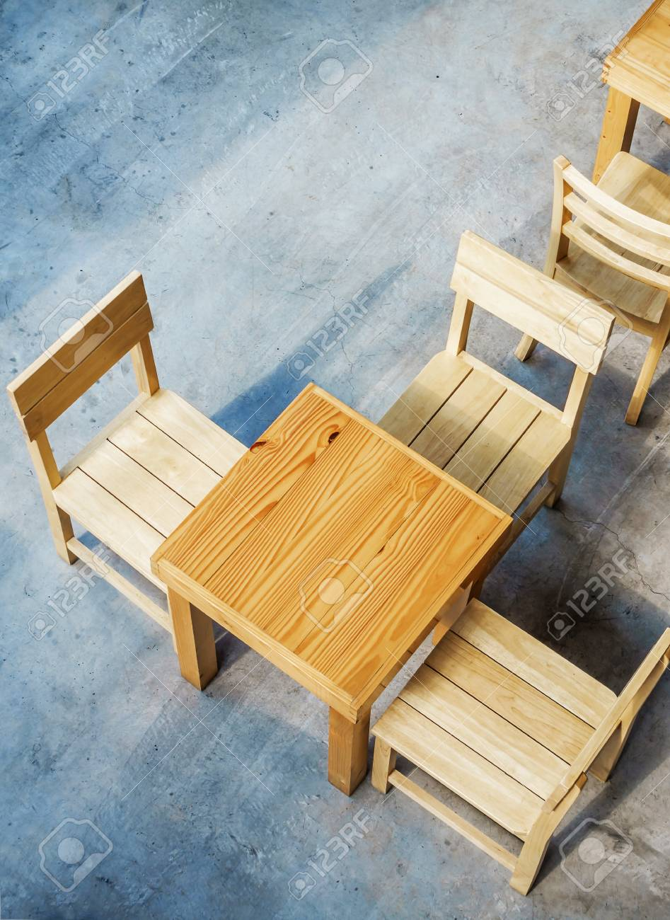 Top View Of Wooden Tables And Chairs In Coffee Shop Stock Photo Picture And Royalty Free Image Image 75878290