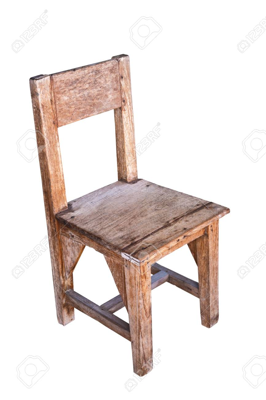 Stock Photo   Vintage Wooden School Chair Isolated On White Background