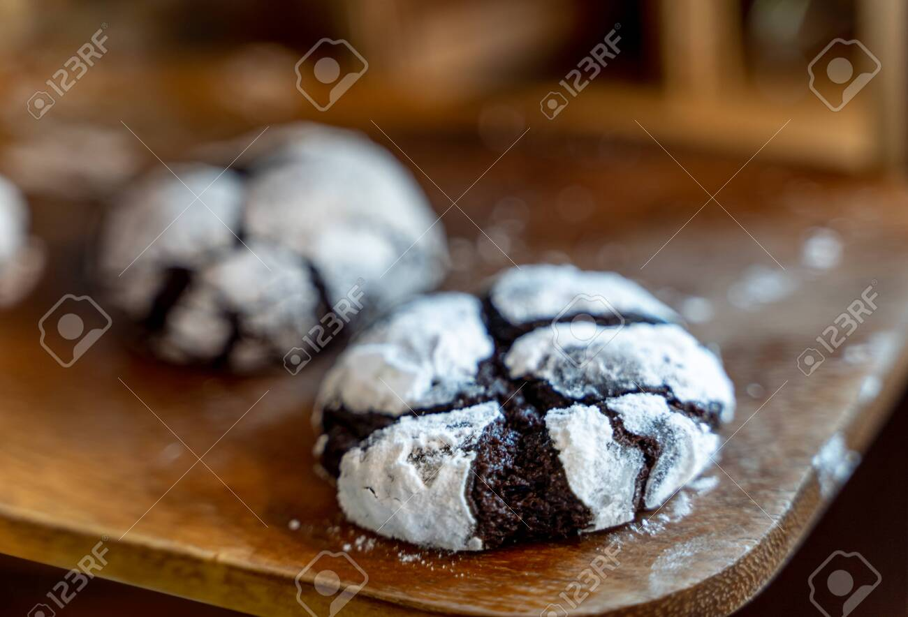 Chocolate Crinkle Cookies In Powdered Sugar Cracked Chocolate