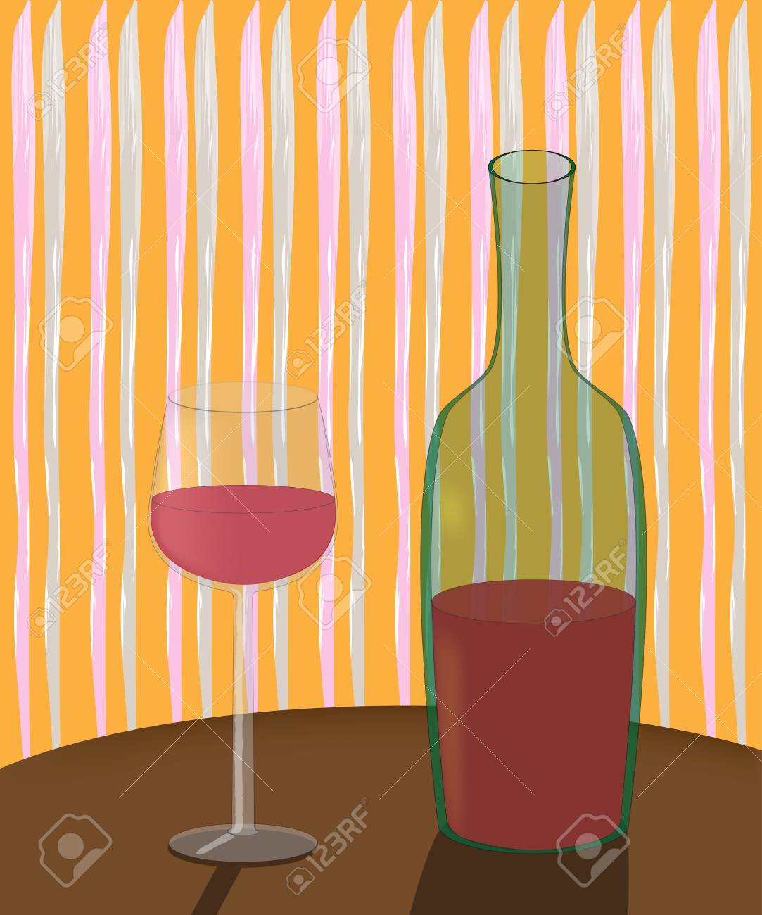 a bottle of wine and a glass on the table in an inexpensive cafe - 51786170