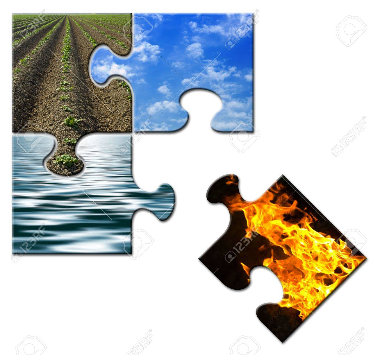 Four elements in a puzzle - Fire apart Stock Photo - 3170427