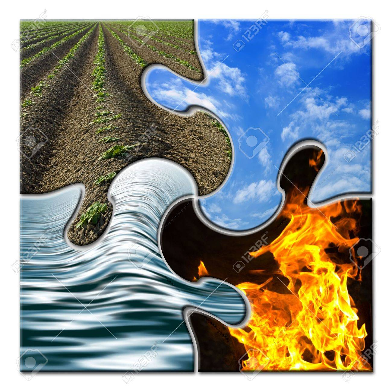 Four elements in a twisted puzzle Stock Photo - 3170424