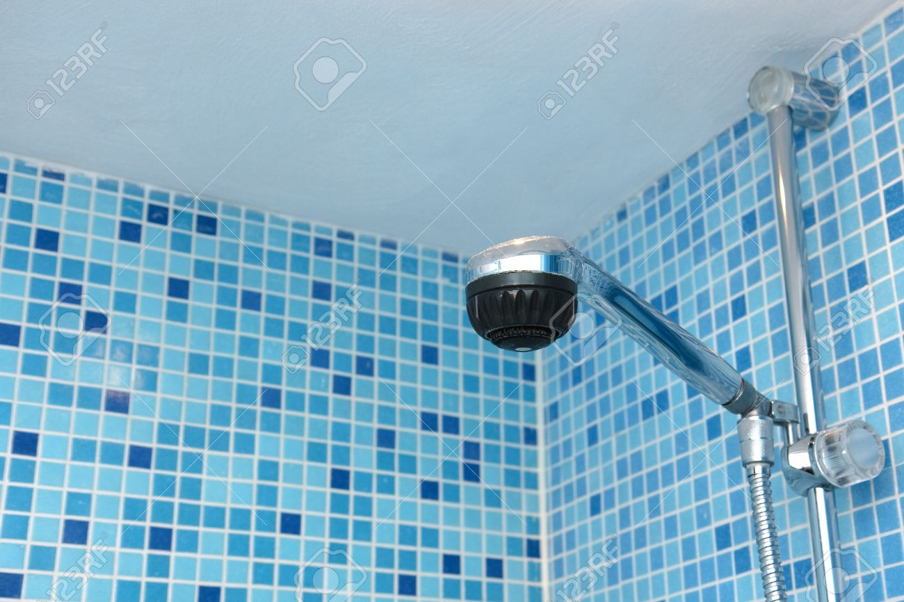 Shower Head Again Blue Mosaic Tiles Stock Photo, Picture And Royalty ...