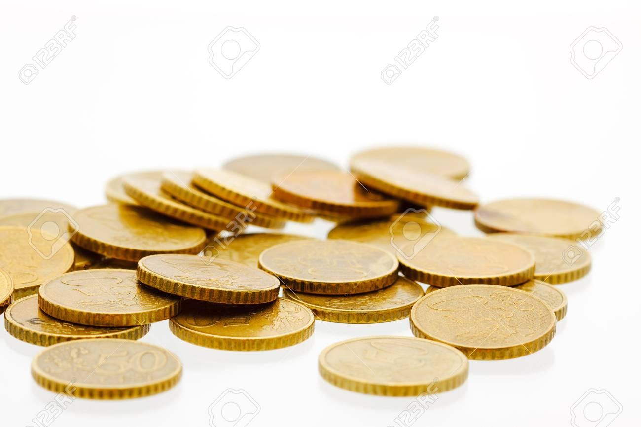 Freigestellt 50 Euro Cent Münzen Auf Einem Haufen Lizenzfreie Fotos