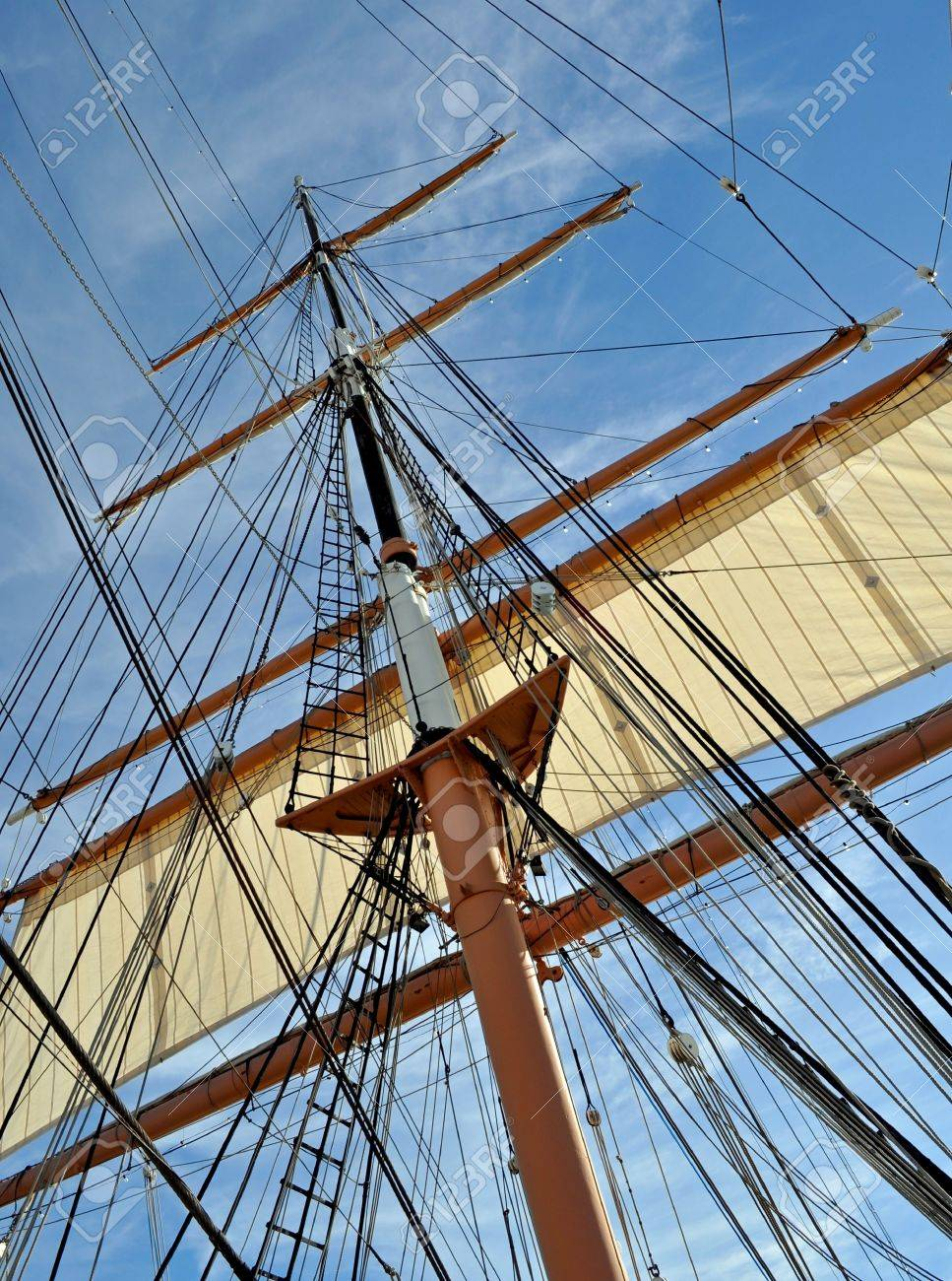 The Mast and Rigging of a Tall Sailing Ship. Stock Photo - 8833351