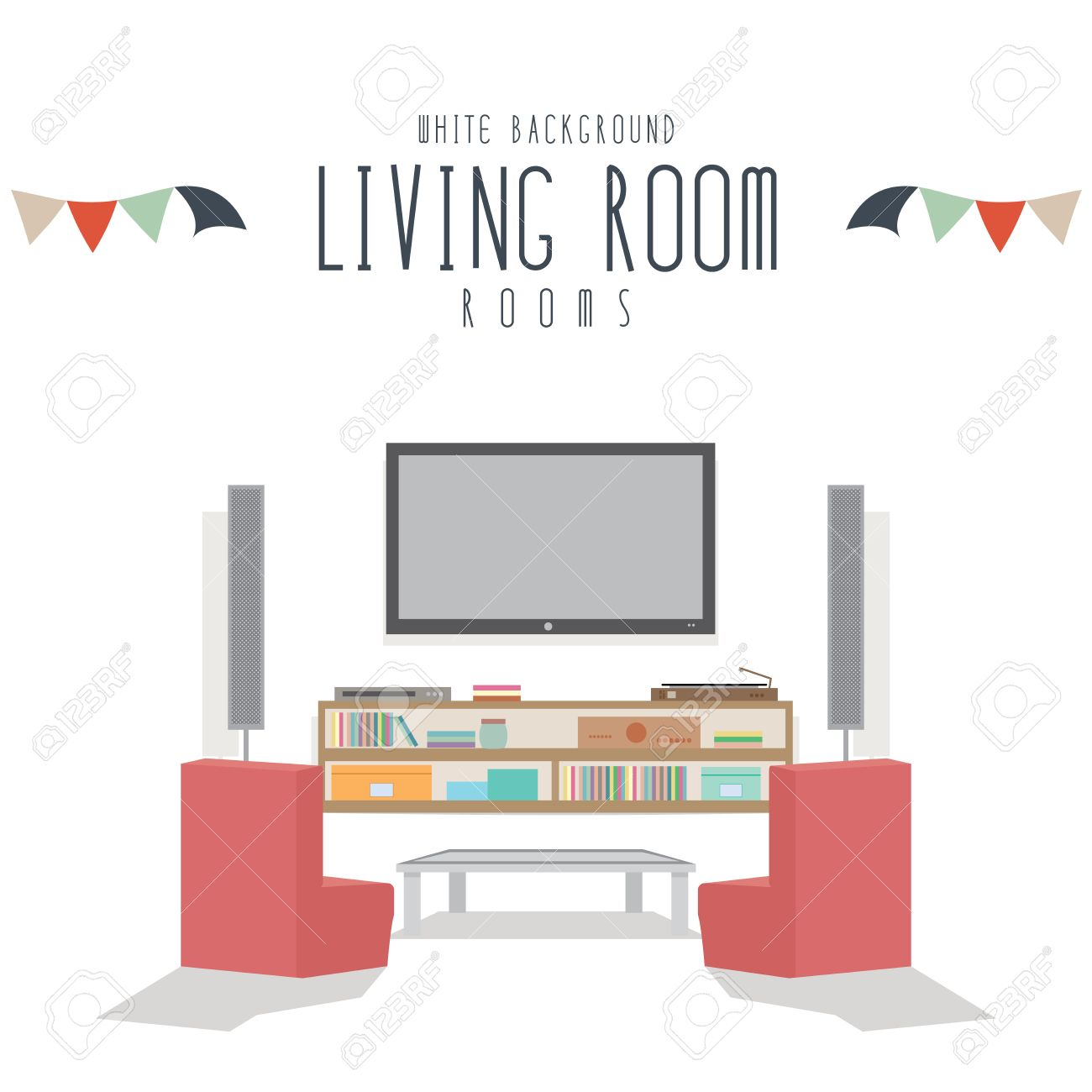 Living Room, Vector Illustration Of Living Room (White Background ...