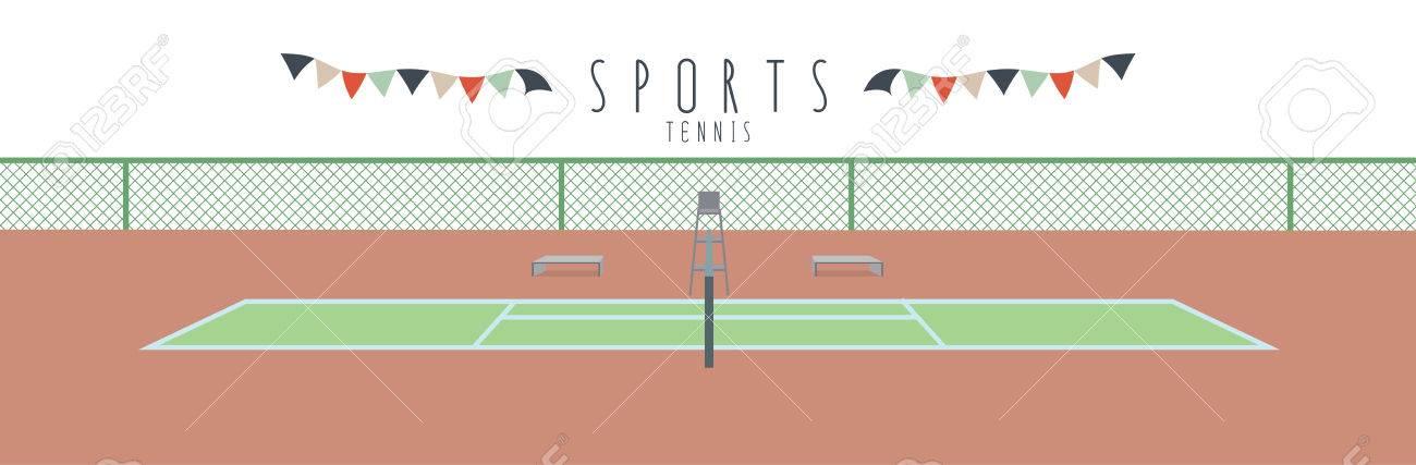 スポーツ テニス テニスコートのベクトル イラストのイラスト素材