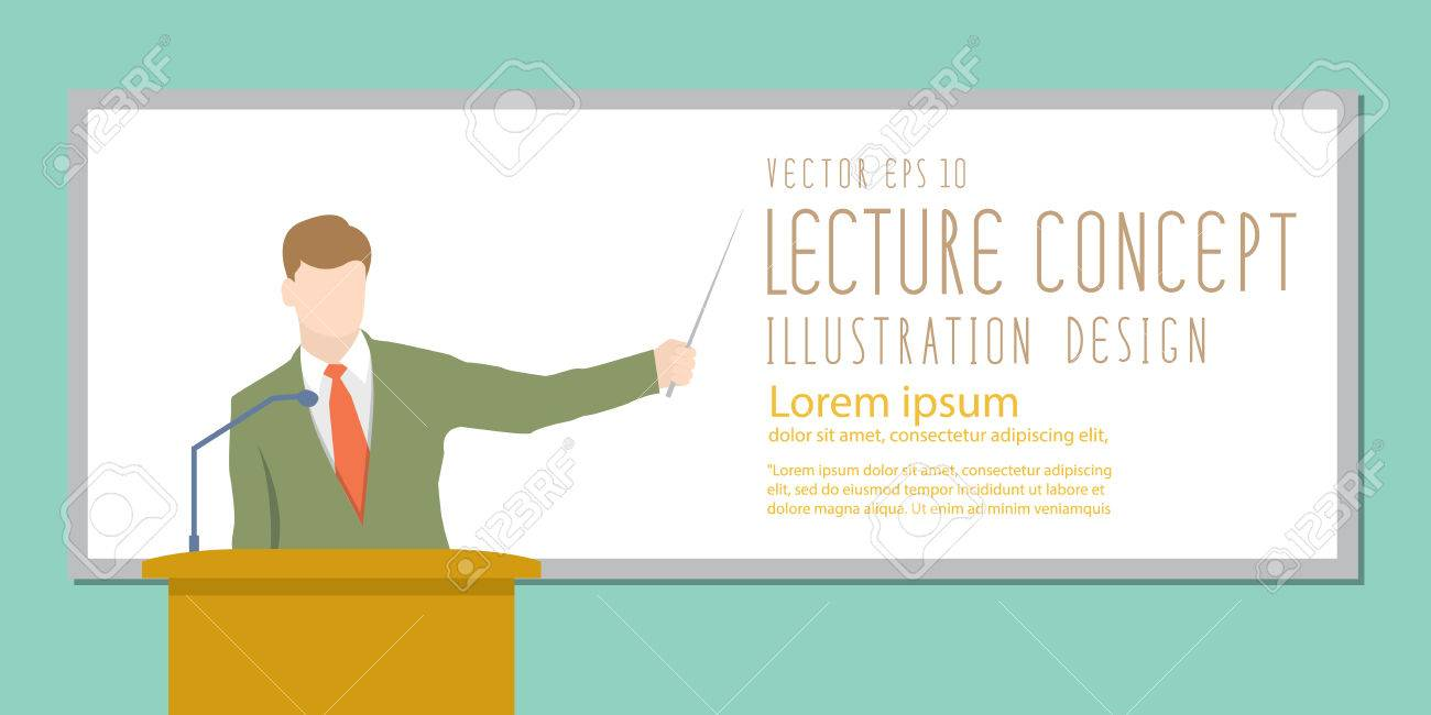 illustration vector lecturer giving lecture or presentation