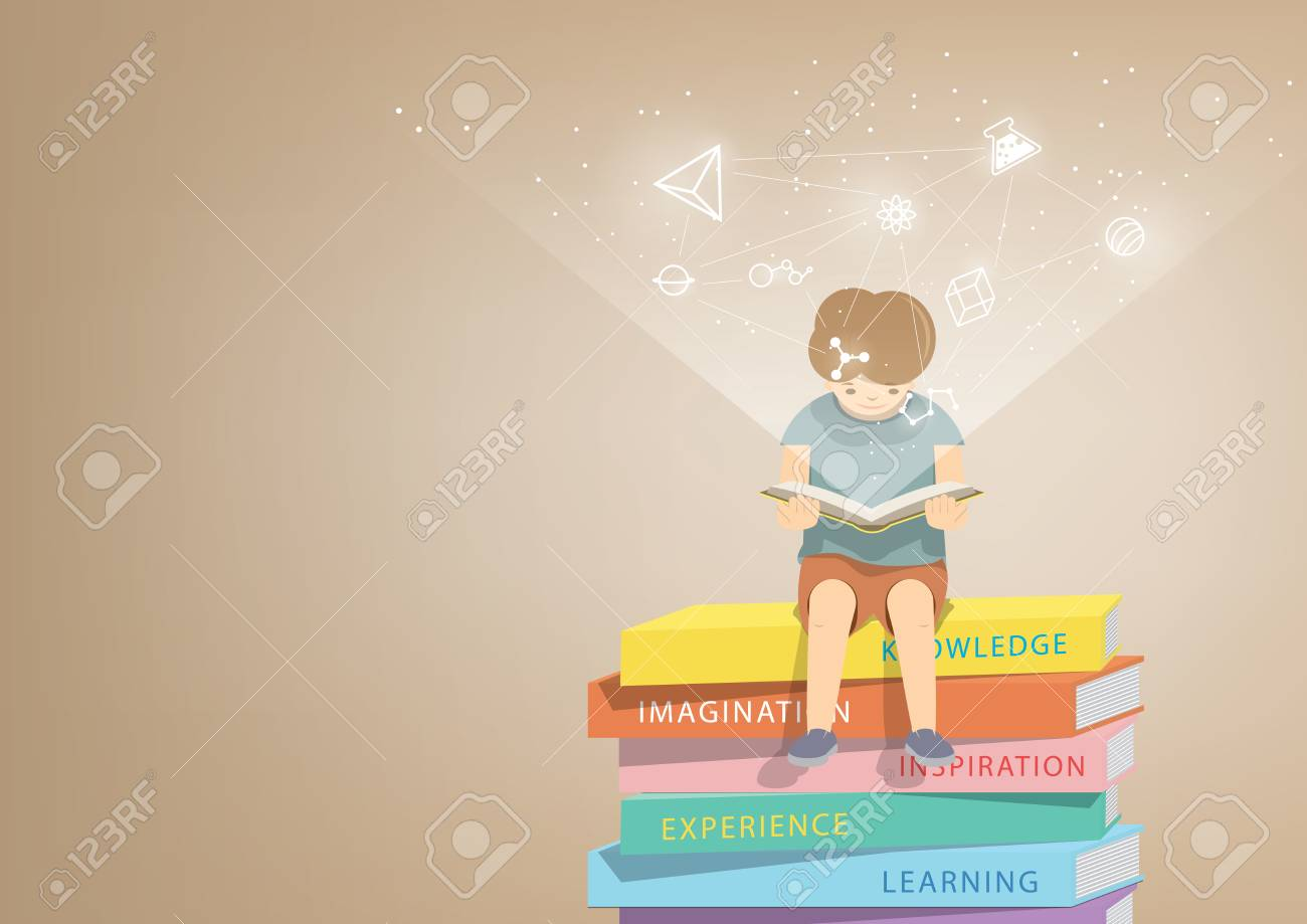 illustration vector boy reading a book on a pile of books, brown background and icons refer to knowledge and learning. - 60343936