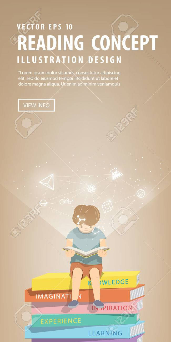 illustration vector boy reading a book on a pile of books, brown background and icons refer to knowledge and learning. - 61486343