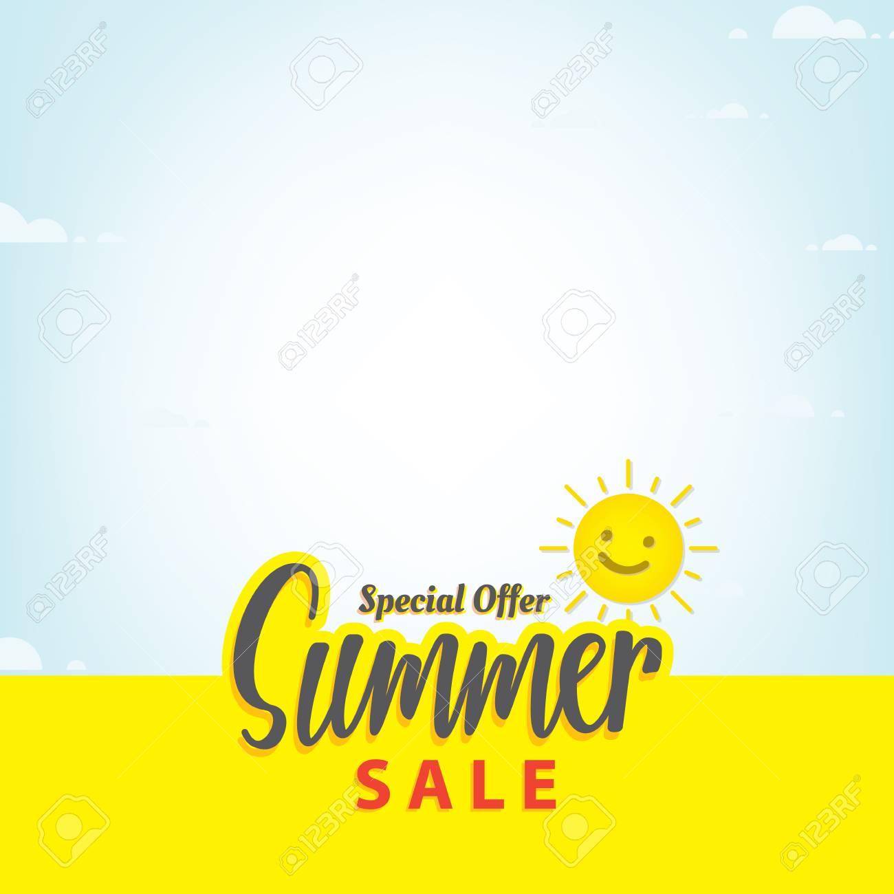 Summer Sale Blank Frame Heading Design For Banner Or Poster Stock Vector