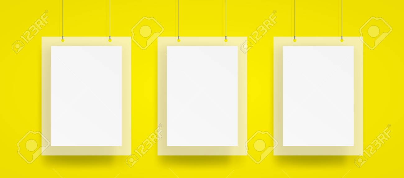 Blank Three Hanging Poster And Frame With Wire Mockup Vector ...
