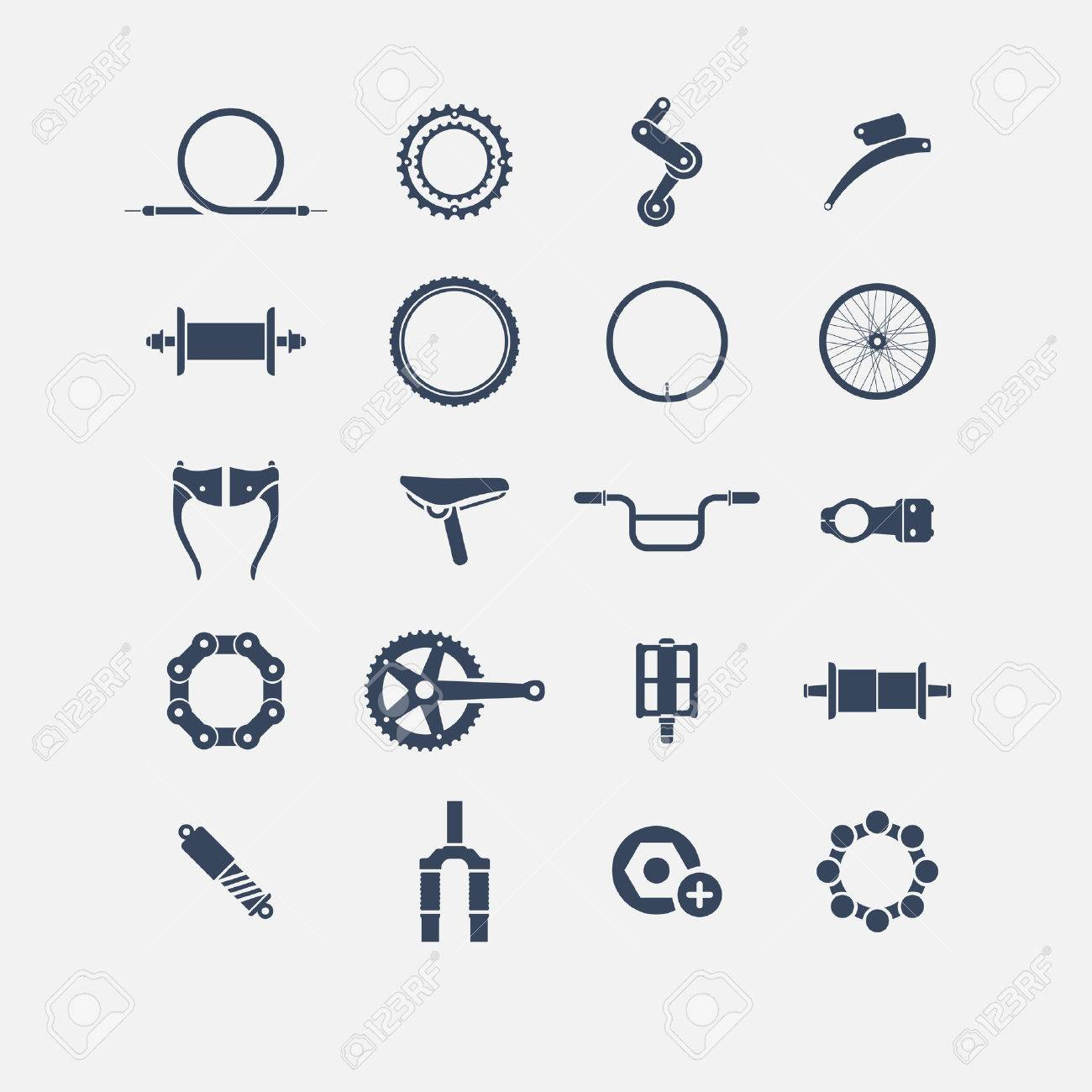 bicycle parts icons, simple icons, icon