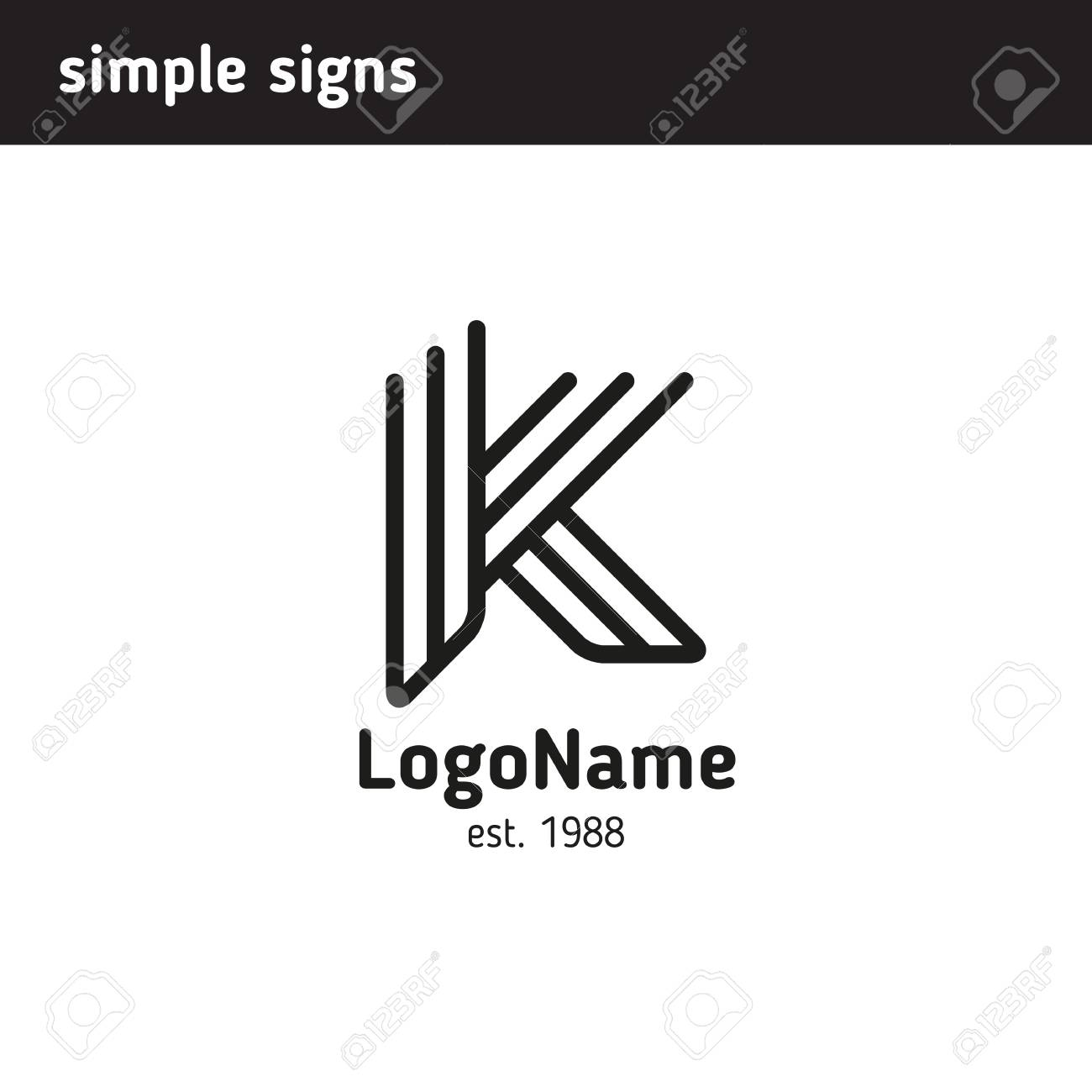 Linear Logo In The Form Of A Letter K Royalty Free Cliparts Vectors