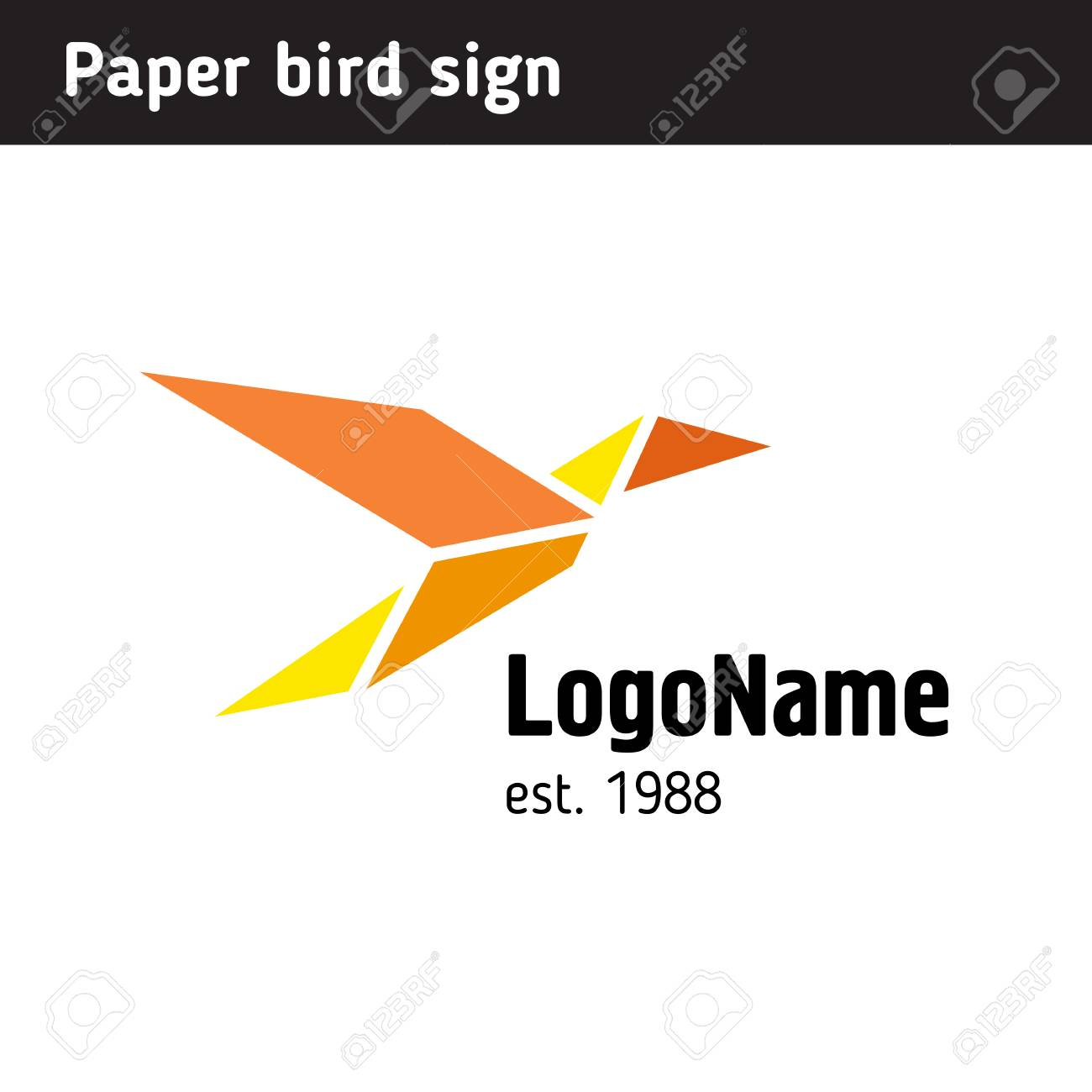 Template Logo In The Form Of Paper Birds Is Universal For Any Sphere Stock Vector