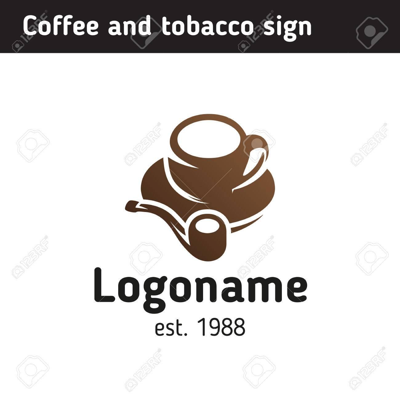 Logo-Vorlage Für Ein Café Und Einen Tabakladen, Eine Tasse Kaffee ...